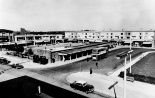 Historical photo of Corby with Double Decker bus