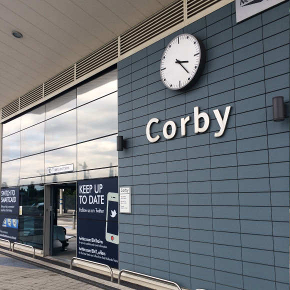 Corby train station with clock